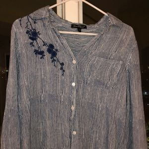 Beautiful button-down blue shirt with embroidery